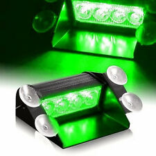 Green 4 LED Car Strobe Warning Truck Emergency Flashing Windshield Light