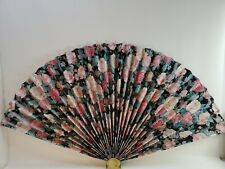"Large Wall Decor Oriental Chinese Folding Fan Restaurant Decor Brass Stand 38"""
