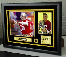 "Joe Montana San Francisco 49ers Enmarcado Lona Retrato Firmado ""Gran Regalo"""