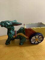 Vintage Large Donkey Pulling Cart Planter Green Mottled - Italy A24