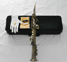 Professional Built-in Neck Antique Soprano saxophone High F# Bb Sax +Metal Mouth