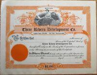 Three Rivers Development Co. 1905 Oil Stock Certificate - Montana MT
