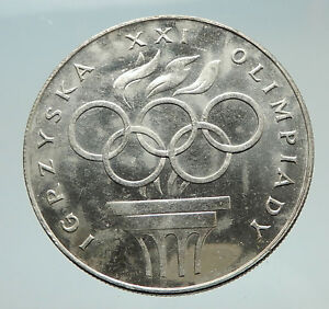 1976 POLAND Summer Olympics Rings in Montreal Canada Antique Silver Coin i74759