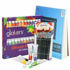 Premium Watercolor Paint Set 24 Color Tubes With Canson Xl Pad & 10 Brushes
