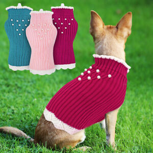 Girl/Female Dog Soft Knitted Sweater White Lace Clothes Pet Puppy Cat Jumper S-L