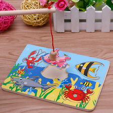 Kids Magnetic Fishing Game + 3D Jigsaw Puzzle Board Wooden Educational Toy