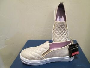 SKECHERS STREET LOS ANGELES QUILTED GOLD SLIP-ON YOUTH GIRLS SHOES SZ 2 US NEW