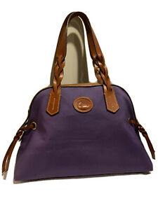Dooney & Bourke Small Domed Satchel Purple Nylon British Tan Leather IN435 PP