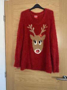 Christmas Ladies Red Fluffy Reindeer Jumper Size 12 14