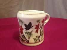 "Vintage Hand-Painted Butterflies Mustache Tea Cup~3½"" x 2¾"" Mug Strainer Lip"
