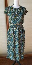Women's Green Floral Print Short Sleeve Cinched Waist Dress - A New Day Large
