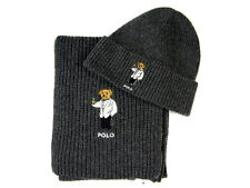 Polo Ralph Lauren Polo Bear Hat & Polo Bear Scarf Charcoal Gray NWT