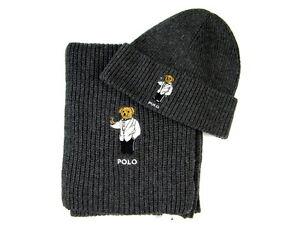 Polo Ralph Lauren Polo Bear Hat & Polo Bear Scarf Charcoal Gray NWT