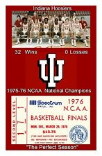 INDIANA HOOSIERS MATTED PHOTO OF 1976 NCAA BASKETBALL CHAMPS TEAM/REPLICA TICKET