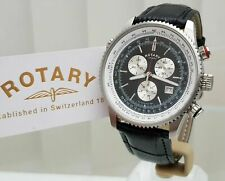 Rotary Mens Watch Black leather strap Genuine