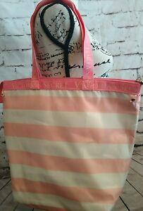 Victoria's Secret Pink Cream Striped Lunch Cooler Bag Picnic Insulated Zip Tote