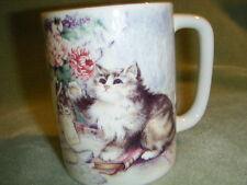 Otagiri Stoneware Mug Long Hair Cat Kitty & Flowers Japan Tavistock Design