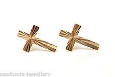 9ct Gold Small Diamond cut Cross Stud Earrings Gift Boxed Made in UK