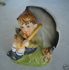 Vintage Glazed Ceramic Royal Crown Japan Hand Painted Umbrella Boy Figurine