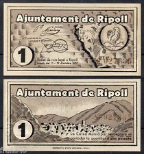 BIllete local AYUNTAMIENTO AJUNTAMENT DE RIPOLL 1 peseta SC  SPAIN CIVIL WAR UNC
