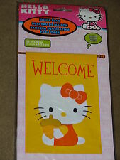 """New listing Hello Kitty With Acorn Welcome Large Garden Flag 28""""X40""""-New In Package"""