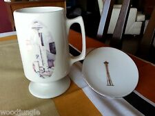 Mid Century MODERN SPACE NEEDLE DISH COASTER COFFEE MUG RETRO Vintage  cup