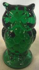 Owl Figurine - Hunter Green Glass - Mosser USA