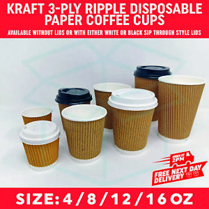 4oz 8oz 12oz 16oz Paper Coffee Tea Cups Strong for Hot & Cold Drinks Vending