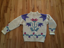 Vintage THE WOOLRICH WOMAN Ski Sweater Sz LARGE - 100% Wool - TULIP DESIGN