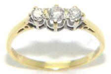 MUJER SEÑORA 18ct 18 Quilates Oro Amarillo Diamante Anillo Pedida Trilogía