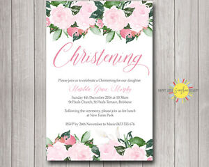 Printable Custom Girls Christening / Naming Day Invitation Pink Floral Elegant
