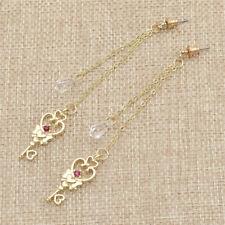 Sailor Moon Loving Key Earrings Tassels Crystal Pendant Cosplay Party Ear Studs