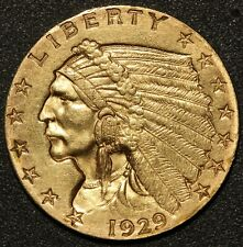 1929 U.S. Indian Head $2.50 Quarter Eagle Gold Coin