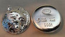 """5oz YPS """"Wolf"""" 999+ fine silver bullion bar """"Yeager's Poured Silver"""""""