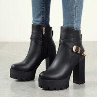 Womens Fashion Punk Buckle Strap Gothic Chunky High Heels Platform Ankle Boots