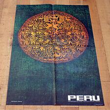 PERU manifesto poster Turismo Tessuto Fabric Ceramiche Sax Musica Pecore