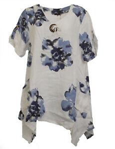 Damen Leinentunika Tunika Top Leinen Kurzarm Shirt Bluse 096091 Joe Browns