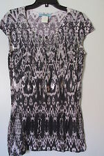 Marciano Black/White Silver Studded Cap Sleeve Long Tee Top SIZE:L NWOT