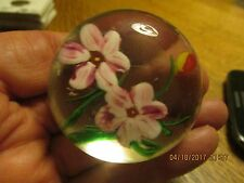 Vintage Paperweight Blown Glass with Flowers -Red & White