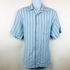 Cubavera Mens Shirt Size Large Blue Linen Blend Shortsleeved Buttonup