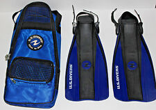 New listing Us Divers youth Scuba Snorkel Fins for beach pool w/ zip Tote Bag sz 13 - 2 Euc