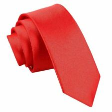 Plain Satin Skinny Tie- red