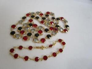 Vintage Swan Swarovski Ruby Red Black Gray Crystal Bezel Necklace Bracelet Set