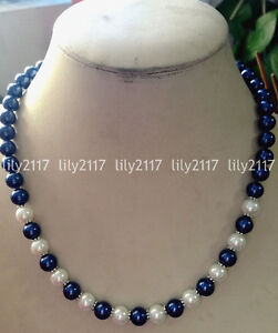 Beautiful Natural 8mm blue White South Sea Shell Pearl Necklace 18/20/22/24'' AA