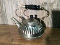 Antique Nickel Plate Teapot Tea Pot Wood Handles Ornate B7