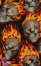 Alexander Henry Hot Heads Flame Skulls Hot Rod Tattoo Cotton Fabric