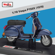 Maisto 1:18 Vespa P150x 1978 Diecast Motorcycle Scooter Model New in Box Blue