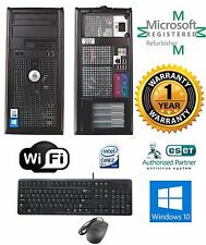 Dell Optiplex Tower Desktop Windows 10 HP 4GB 250GB Intel Core 2 Duo Wifi
