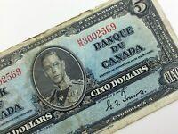 1937 Canada 5 Five Dollar Circulated HS Prefix Coyne Towers Banknote R192