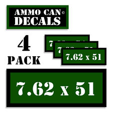 "7.62 X 51 Ammo Can 4x Labels Ammunition Case 3""x1.15"" stickers decals 4 pack GR"